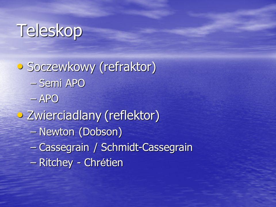 Teleskop Soczewkowy (refraktor) Soczewkowy (refraktor) –Semi APO –APO Zwierciadlany (reflektor) Zwierciadlany (reflektor) –Newton (Dobson) –Cassegrain