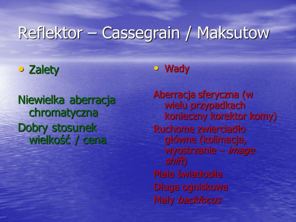 Reflektor – Cassegrain / Maksutow Zalety Zalety Niewielka aberracja chromatyczna Dobry stosunek wielkość / cena Wady Wady Aberracja sferyczna (w wielu