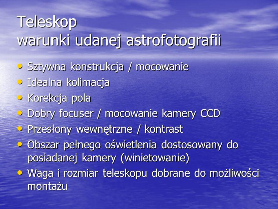 Teleskop warunki udanej astrofotografii Sztywna konstrukcja / mocowanie Sztywna konstrukcja / mocowanie Idealna kolimacja Idealna kolimacja Korekcja p