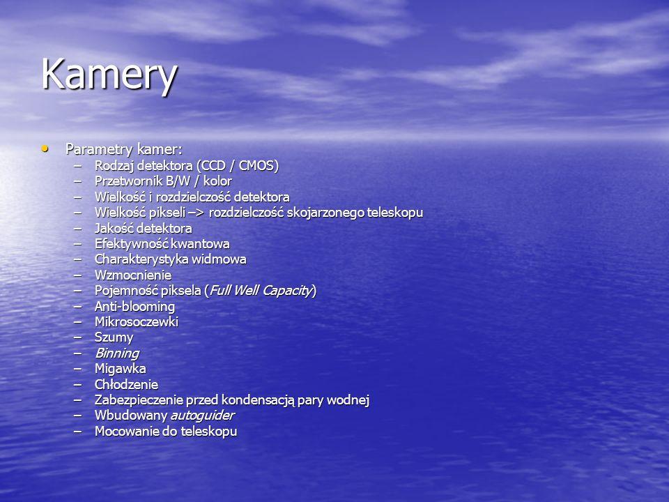 Kamery Parametry kamer: Parametry kamer: –Rodzaj detektora (CCD / CMOS) –Przetwornik B/W / kolor –Wielkość i rozdzielczość detektora –Wielkość pikseli