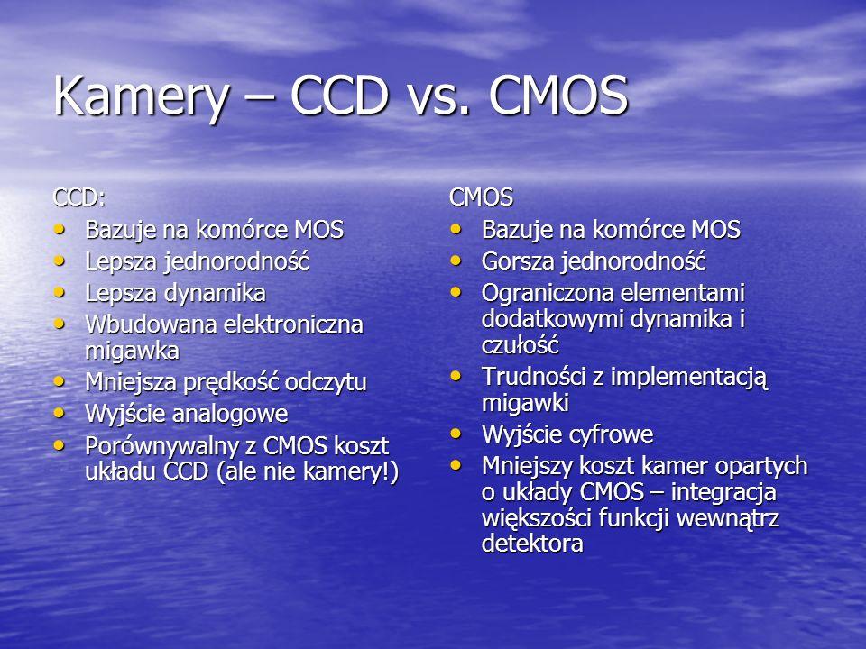 Kamery – CCD vs. CMOS CCD: Bazuje na komórce MOS Bazuje na komórce MOS Lepsza jednorodność Lepsza jednorodność Lepsza dynamika Lepsza dynamika Wbudowa
