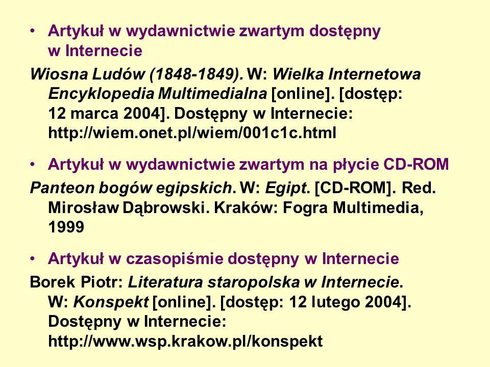 Artykuł w wydawnictwie zwartym dostępny w Internecie Wiosna Ludów (1848-1849).