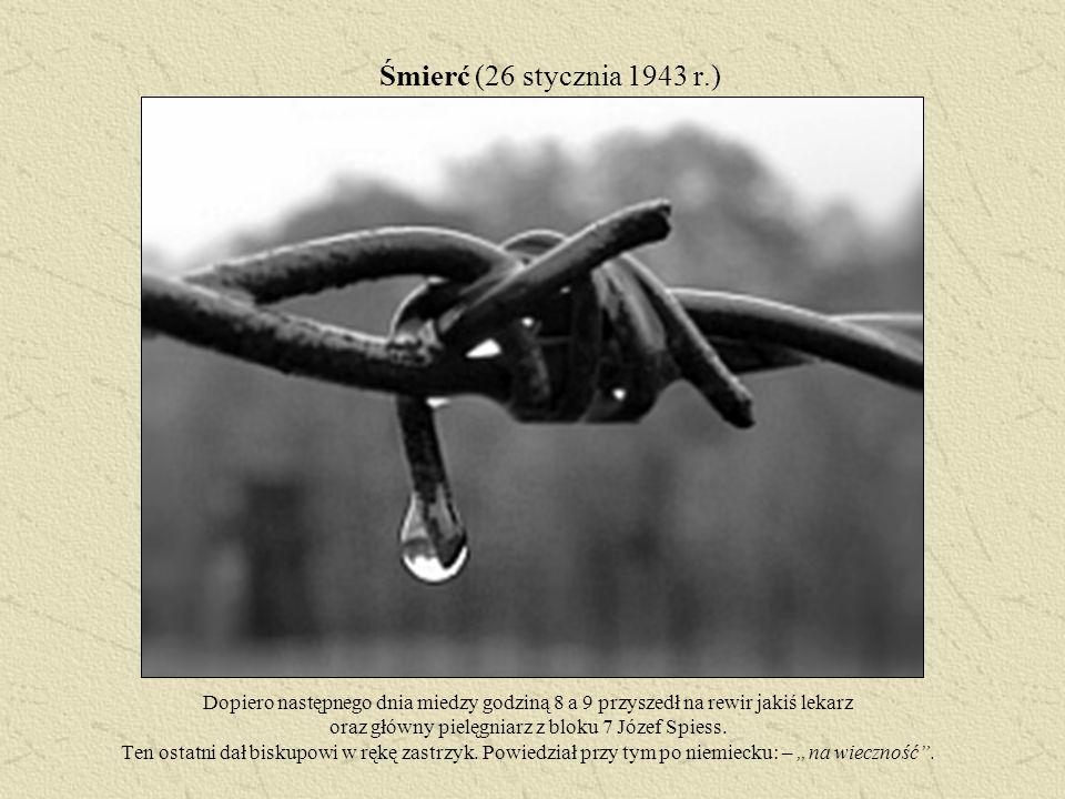 Śmierć (26 stycznia 1943 r.) Dopiero następnego dnia miedzy godziną 8 a 9 przyszedł na rewir jakiś lekarz oraz główny pielęgniarz z bloku 7 Józef Spie