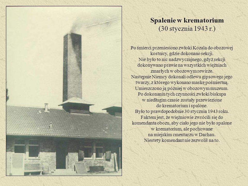 Spalenie w krematorium (30 stycznia 1943 r.) Po śmierci przeniesiono zwłoki Kozala do obozowej kostnicy, gdzie dokonano sekcji. Nie było to nic nadzwy