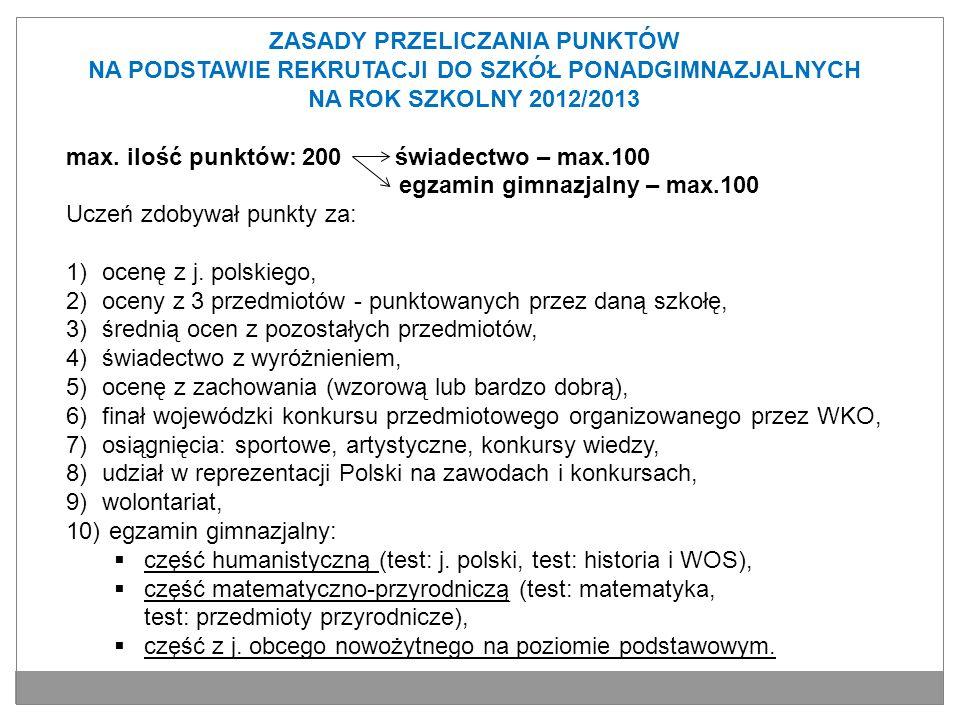 ZASADY PRZELICZANIA PUNKTÓW NA PODSTAWIE REKRUTACJI DO SZKÓŁ PONADGIMNAZJALNYCH NA ROK SZKOLNY 2012/2013 max. ilość punktów: 200 świadectwo – max.100