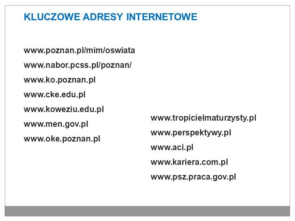 KLUCZOWE ADRESY INTERNETOWE www.poznan.pl/mim/oswiata www.nabor.pcss.pl/poznan/ www.ko.poznan.pl www.cke.edu.pl www.koweziu.edu.pl www.men.gov.pl www.