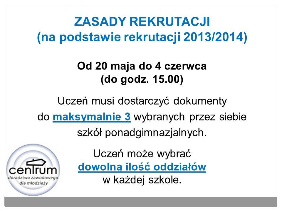 ZASADY REKRUTACJI (na podstawie rekrutacji 2013/2014) Od 20 maja do 4 czerwca (do godz. 15.00) Uczeń musi dostarczyć dokumenty do maksymalnie 3 wybran