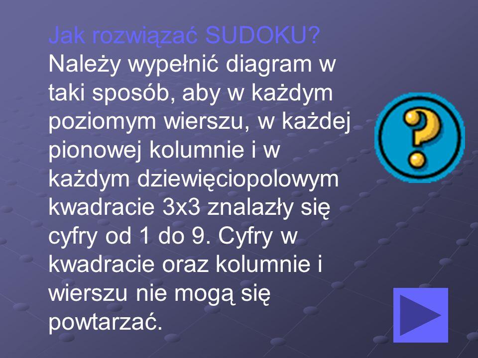 Jak rozwiązać SUDOKU? Należy wypełnić diagram w taki sposób, aby w każdym poziomym wierszu, w każdej pionowej kolumnie i w każdym dziewięciopolowym kw