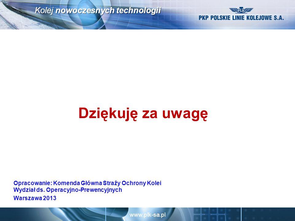 www.plk-sa.pl Kolej nowoczesnych technologii Dziękuję za uwagę Opracowanie: Komenda Główna Straży Ochrony Kolei Wydział ds.
