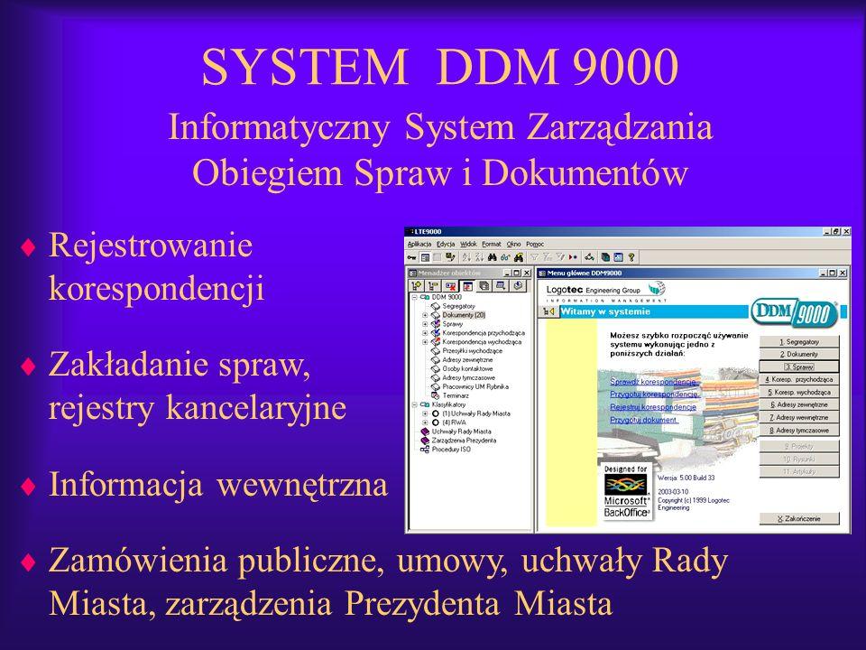 SYSTEM DDM 9000 Informatyczny System Zarządzania Obiegiem Spraw i Dokumentów Rejestrowanie korespondencji Zakładanie spraw, rejestry kancelaryjne Info
