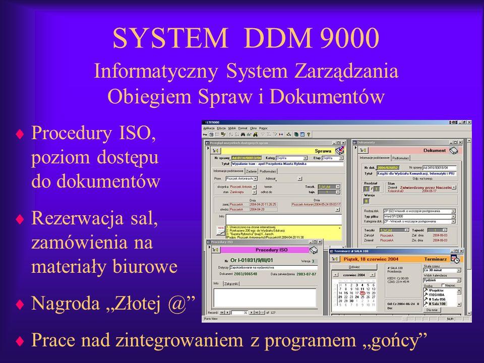 Informatyczny System Zarządzania Obiegiem Spraw i Dokumentów Procedury ISO, poziom dostępu do dokumentów Rezerwacja sal, zamówienia na materiały biuro