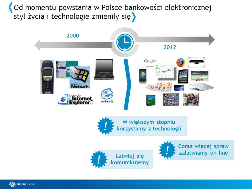 2000 2012 Od momentu powstania w Polsce bankowości elektronicznej styl życia i technologie zmieniły się W większym stopniu korzystamy z technologii Coraz więcej spraw załatwiamy on-line Łatwiej się komunikujemy .