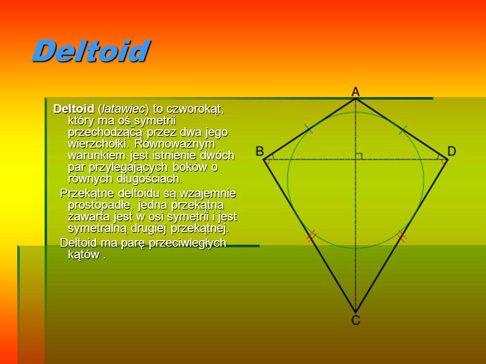 Deltoid Deltoid (latawiec) to czworokąt, który ma oś symetrii przechodzącą przez dwa jego wierzchołki. Równoważnym warunkiem jest istnienie dwóch par