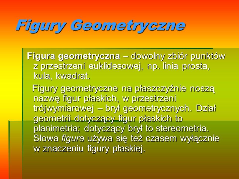 Figury Geometryczne Figura geometryczna – dowolny zbiór punktów z przestrzeni euklidesowej, np. linia prosta, kula, kwadrat. Figura geometryczna – dow