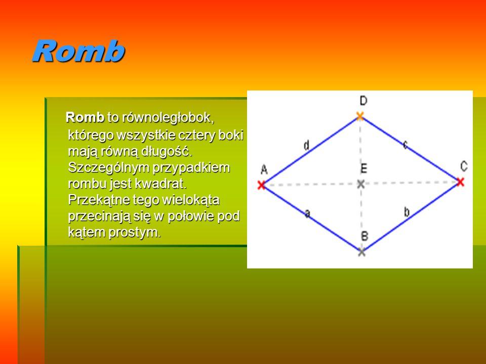Romb Romb to równoległobok, którego wszystkie cztery boki mają równą długość. Szczególnym przypadkiem rombu jest kwadrat. Przekątne tego wielokąta prz