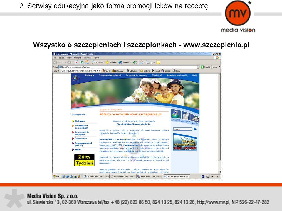 2. Serwisy edukacyjne jako forma promocji leków na receptę Wszystko o szczepieniach i szczepionkach - www.szczepienia.pl