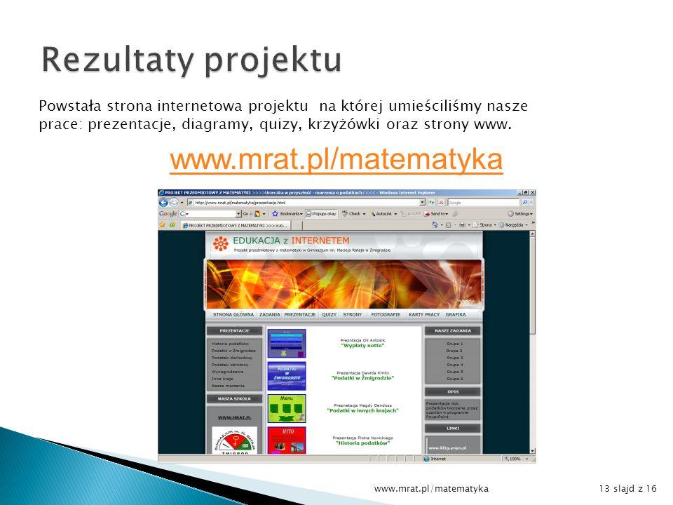 Powstała strona internetowa projektu na której umieściliśmy nasze prace: prezentacje, diagramy, quizy, krzyżówki oraz strony www. www.mrat.pl/matematy