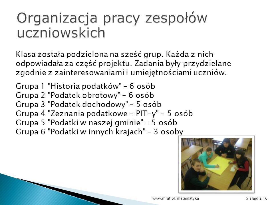 Klasa została podzielona na sześć grup. Każda z nich odpowiadała za część projektu. Zadania były przydzielane zgodnie z zainteresowaniami i umiejętnoś