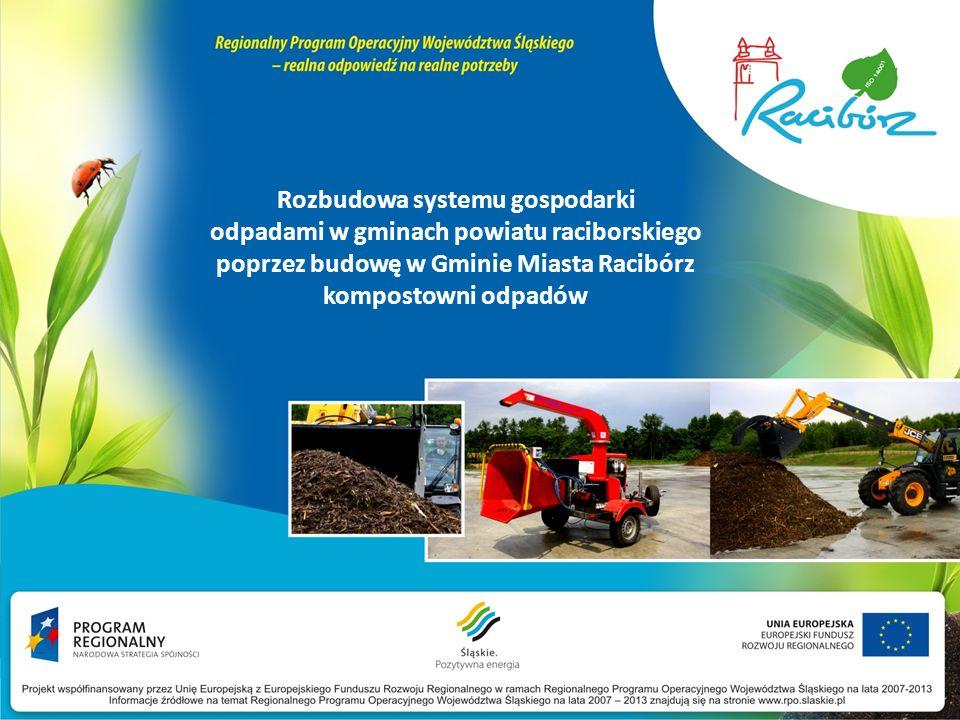Cele długoterminowe Plan prezentacji wyeliminowanie negatywnego wpływu na środowisko odpadów oznaczonych kodem 20 02 01 (odpady ulegające biodegradacji) oraz kodem 20 03 02 (odpady z targowisk), uporządkowanie gospodarki odpadami na terenie miasta Racibórz i powiatu raciborskiego, ograniczenie kosztów związanych z transportem i unieszkodliwianiem odpadów biodegradowalnych, które obecnie wywożone są do odległych składowisk, osiągniecie wskaźników wskazanych w Dyrektywie Komisji Europejskiej, Projekt współfinansowany przez Unię Europejską z Europejskiego Funduszu Rozwoju Regionalnego w ramach Regionalnego Programu Operacyjnego Województwa Śląskiego na lata 2007-2013 Informacje źródłowe na temat Regionalnego Programu Operacyjnego Województwa Śląskiego na lata 2007 – 2013 znajdują się na stronie www.rpo.slaskie.pl