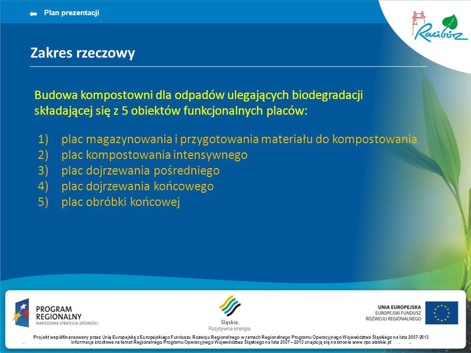 Zakres rzeczowy Plan prezentacji Budowa kompostowni dla odpadów ulegających biodegradacji składającej się z 5 obiektów funkcjonalnych placów: 1)plac magazynowania i przygotowania materiału do kompostowania 2)plac kompostowania intensywnego 3)plac dojrzewania pośredniego 4)plac dojrzewania końcowego 5)plac obróbki końcowej Projekt współfinansowany przez Unię Europejską z Europejskiego Funduszu Rozwoju Regionalnego w ramach Regionalnego Programu Operacyjnego Województwa Śląskiego na lata 2007-2013 Informacje źródłowe na temat Regionalnego Programu Operacyjnego Województwa Śląskiego na lata 2007 – 2013 znajdują się na stronie www.rpo.slaskie.pl