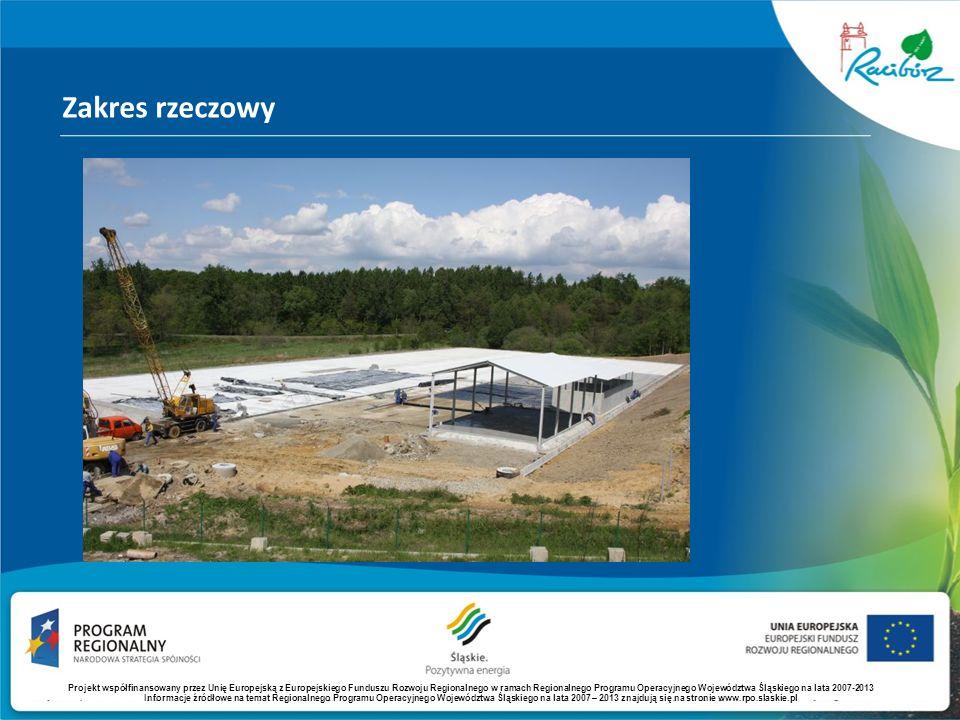 Zakres rzeczowy Projekt współfinansowany przez Unię Europejską z Europejskiego Funduszu Rozwoju Regionalnego w ramach Regionalnego Programu Operacyjne