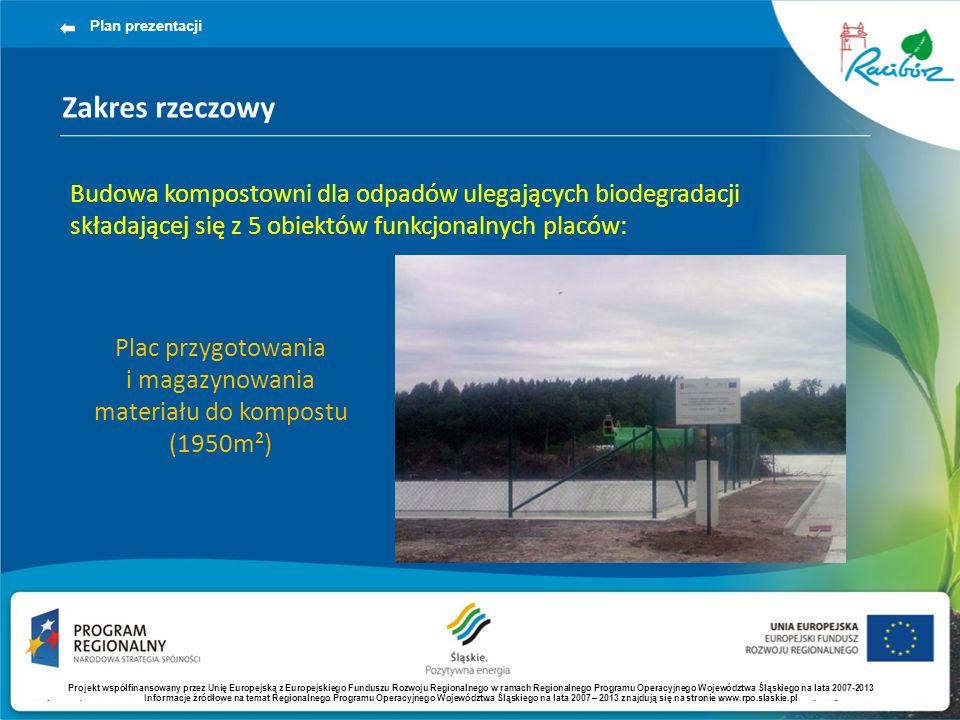 Zakres rzeczowy Plan prezentacji Budowa kompostowni dla odpadów ulegających biodegradacji składającej się z 5 obiektów funkcjonalnych placów: Plac przygotowania i magazynowania materiału do kompostu (1950m²) Projekt współfinansowany przez Unię Europejską z Europejskiego Funduszu Rozwoju Regionalnego w ramach Regionalnego Programu Operacyjnego Województwa Śląskiego na lata 2007-2013 Informacje źródłowe na temat Regionalnego Programu Operacyjnego Województwa Śląskiego na lata 2007 – 2013 znajdują się na stronie www.rpo.slaskie.pl