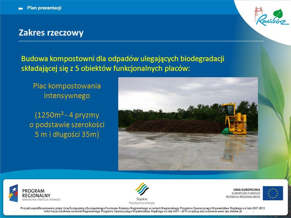 Zakres rzeczowy Plan prezentacji Budowa kompostowni dla odpadów ulegających biodegradacji składającej się z 5 obiektów funkcjonalnych placów: Plac kom