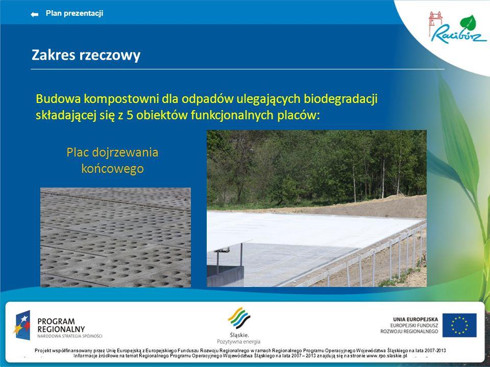 Zakres rzeczowy Plan prezentacji Budowa kompostowni dla odpadów ulegających biodegradacji składającej się z 5 obiektów funkcjonalnych placów: Plac dojrzewania końcowego Projekt współfinansowany przez Unię Europejską z Europejskiego Funduszu Rozwoju Regionalnego w ramach Regionalnego Programu Operacyjnego Województwa Śląskiego na lata 2007-2013 Informacje źródłowe na temat Regionalnego Programu Operacyjnego Województwa Śląskiego na lata 2007 – 2013 znajdują się na stronie www.rpo.slaskie.pl