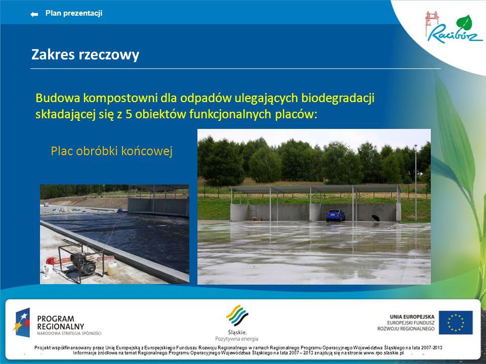 Zakres rzeczowy Plan prezentacji Budowa kompostowni dla odpadów ulegających biodegradacji składającej się z 5 obiektów funkcjonalnych placów: Plac obr