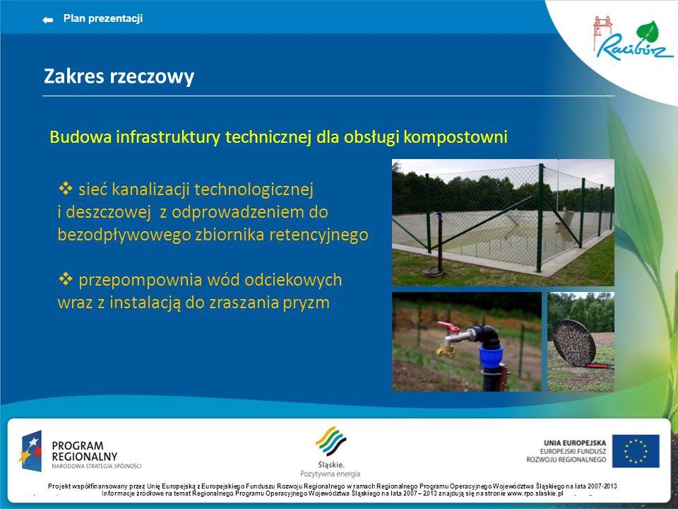 Zakres rzeczowy Plan prezentacji Budowa infrastruktury technicznej dla obsługi kompostowni sieć kanalizacji technologicznej i deszczowej z odprowadzeniem do bezodpływowego zbiornika retencyjnego przepompownia wód odciekowych wraz z instalacją do zraszania pryzm Projekt współfinansowany przez Unię Europejską z Europejskiego Funduszu Rozwoju Regionalnego w ramach Regionalnego Programu Operacyjnego Województwa Śląskiego na lata 2007-2013 Informacje źródłowe na temat Regionalnego Programu Operacyjnego Województwa Śląskiego na lata 2007 – 2013 znajdują się na stronie www.rpo.slaskie.pl