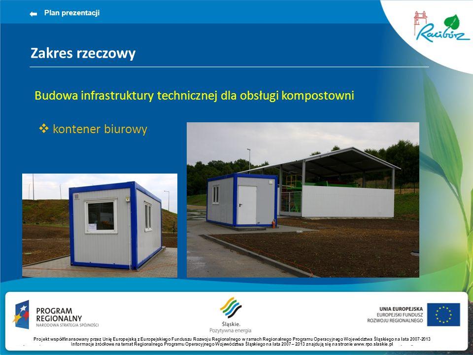 Zakres rzeczowy Plan prezentacji Budowa infrastruktury technicznej dla obsługi kompostowni kontener biurowy Projekt współfinansowany przez Unię Europe