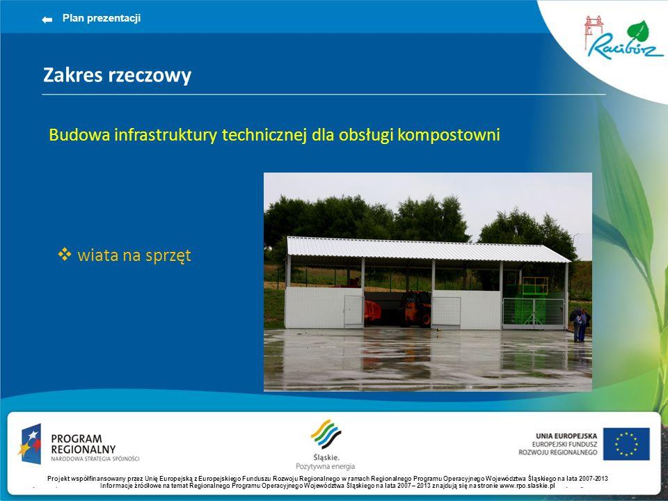 Zakres rzeczowy Plan prezentacji Budowa infrastruktury technicznej dla obsługi kompostowni wiata na sprzęt Projekt współfinansowany przez Unię Europejską z Europejskiego Funduszu Rozwoju Regionalnego w ramach Regionalnego Programu Operacyjnego Województwa Śląskiego na lata 2007-2013 Informacje źródłowe na temat Regionalnego Programu Operacyjnego Województwa Śląskiego na lata 2007 – 2013 znajdują się na stronie www.rpo.slaskie.pl