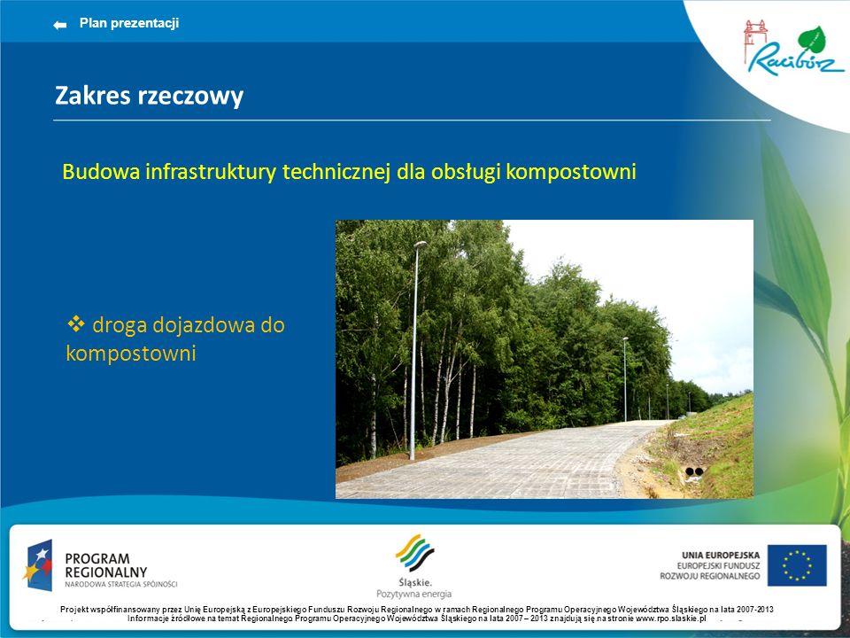 Zakres rzeczowy Plan prezentacji Budowa infrastruktury technicznej dla obsługi kompostowni droga dojazdowa do kompostowni Projekt współfinansowany przez Unię Europejską z Europejskiego Funduszu Rozwoju Regionalnego w ramach Regionalnego Programu Operacyjnego Województwa Śląskiego na lata 2007-2013 Informacje źródłowe na temat Regionalnego Programu Operacyjnego Województwa Śląskiego na lata 2007 – 2013 znajdują się na stronie www.rpo.slaskie.pl