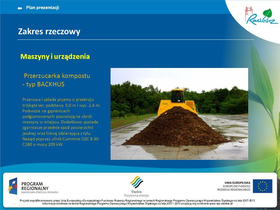 Zakres rzeczowy Plan prezentacji Maszyny i urządzenia Przerzucarka kompostu - typ BACKHUS Przerzuca i układa pryzmy o przekroju trójkąta ser. podstawy