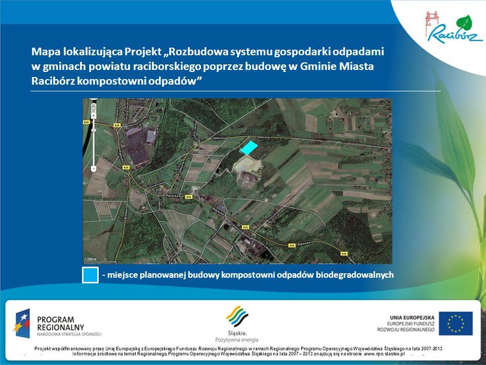 Mapa lokalizująca Projekt Rozbudowa systemu gospodarki odpadami w gminach powiatu raciborskiego poprzez budowę w Gminie Miasta Racibórz kompostowni od