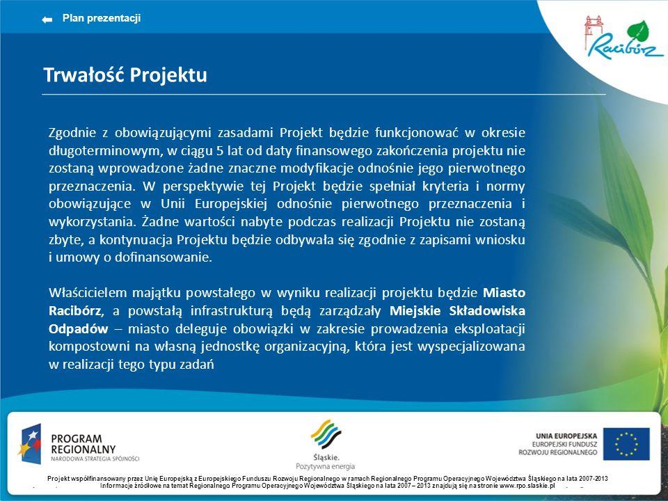 Trwałość Projektu Plan prezentacji Zgodnie z obowiązującymi zasadami Projekt będzie funkcjonować w okresie długoterminowym, w ciągu 5 lat od daty fina