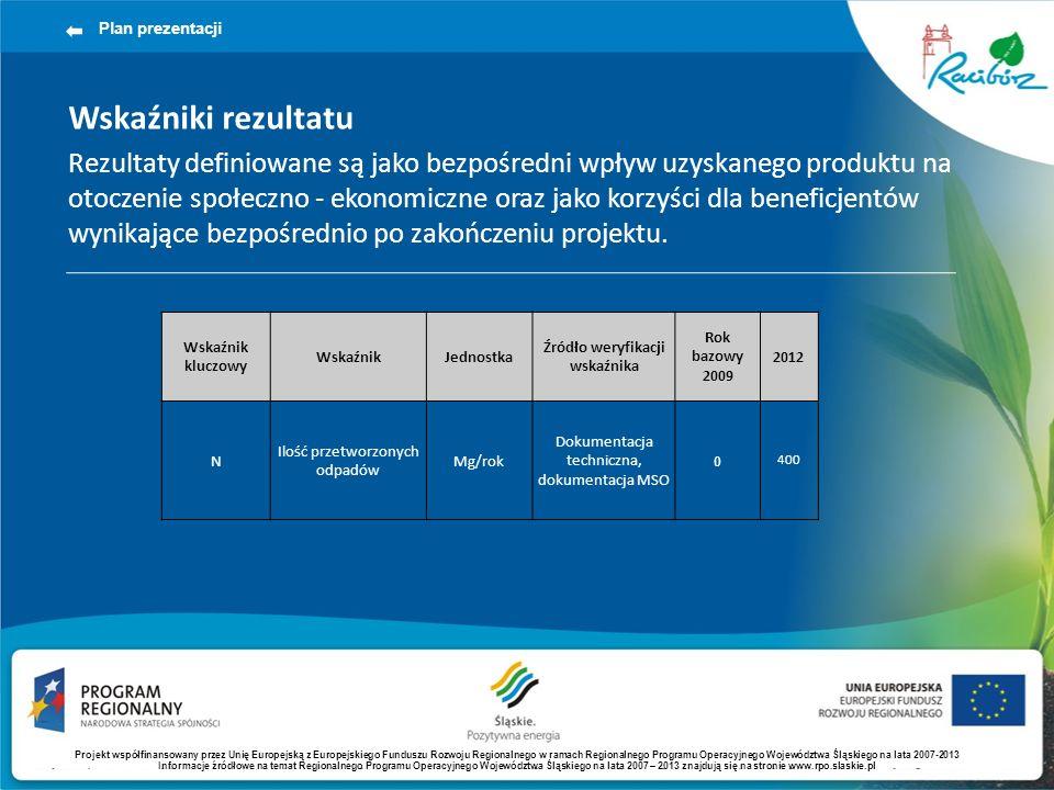 Wskaźniki rezultatu Rezultaty definiowane są jako bezpośredni wpływ uzyskanego produktu na otoczenie społeczno - ekonomiczne oraz jako korzyści dla beneficjentów wynikające bezpośrednio po zakończeniu projektu.