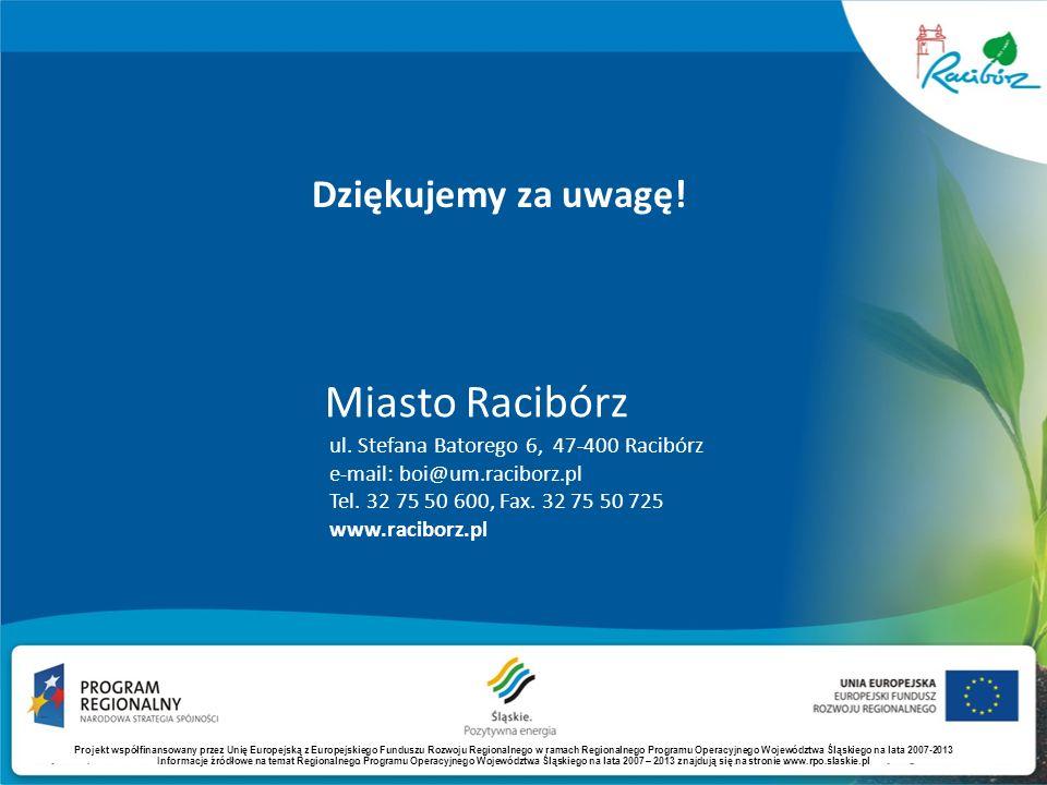 Dziękujemy za uwagę! ul. Stefana Batorego 6, 47-400 Racibórz e-mail: boi@um.raciborz.pl Tel. 32 75 50 600, Fax. 32 75 50 725 www.raciborz.pl Miasto Ra