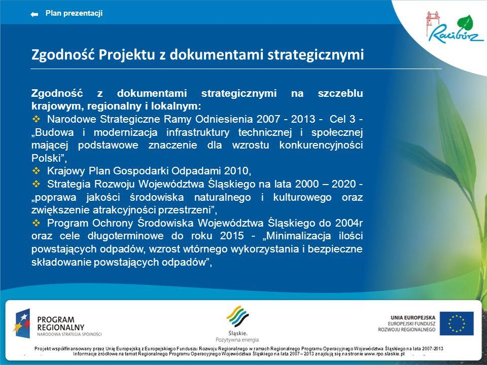 Zgodność Projektu z dokumentami strategicznymi Plan prezentacji Zgodność z dokumentami strategicznymi na szczeblu krajowym, regionalny i lokalnym: Narodowe Strategiczne Ramy Odniesienia 2007 - 2013 - Cel 3 - Budowa i modernizacja infrastruktury technicznej i społecznej mającej podstawowe znaczenie dla wzrostu konkurencyjności Polski, Krajowy Plan Gospodarki Odpadami 2010, Strategia Rozwoju Województwa Śląskiego na lata 2000 – 2020 - poprawa jakości środowiska naturalnego i kulturowego oraz zwiększenie atrakcyjności przestrzeni, Program Ochrony Środowiska Województwa Śląskiego do 2004r oraz cele długoterminowe do roku 2015 - Minimalizacja ilości powstających odpadów, wzrost wtórnego wykorzystania i bezpieczne składowanie powstających odpadów, Projekt współfinansowany przez Unię Europejską z Europejskiego Funduszu Rozwoju Regionalnego w ramach Regionalnego Programu Operacyjnego Województwa Śląskiego na lata 2007-2013 Informacje źródłowe na temat Regionalnego Programu Operacyjnego Województwa Śląskiego na lata 2007 – 2013 znajdują się na stronie www.rpo.slaskie.pl