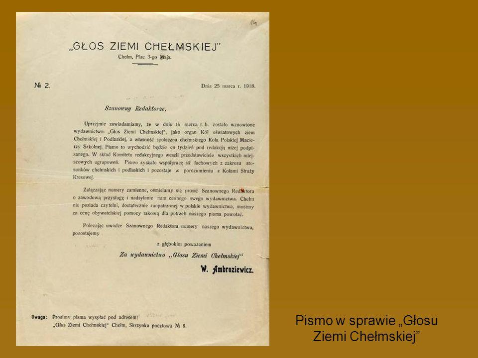 Pismo w sprawie Głosu Ziemi Chełmskiej
