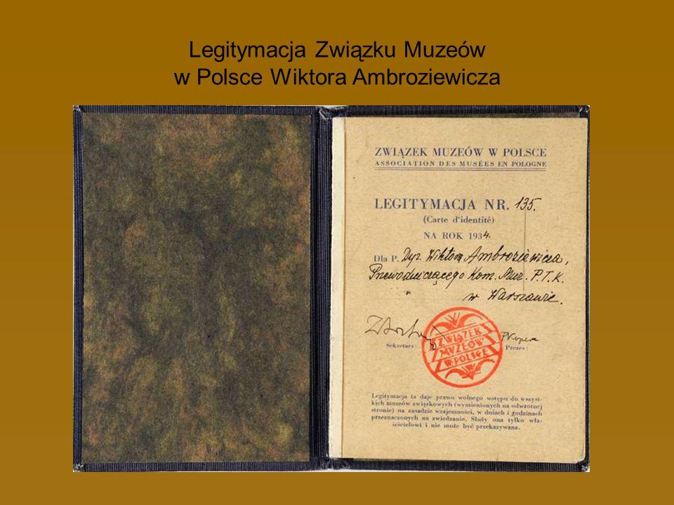 Legitymacja Związku Muzeów w Polsce Wiktora Ambroziewicza