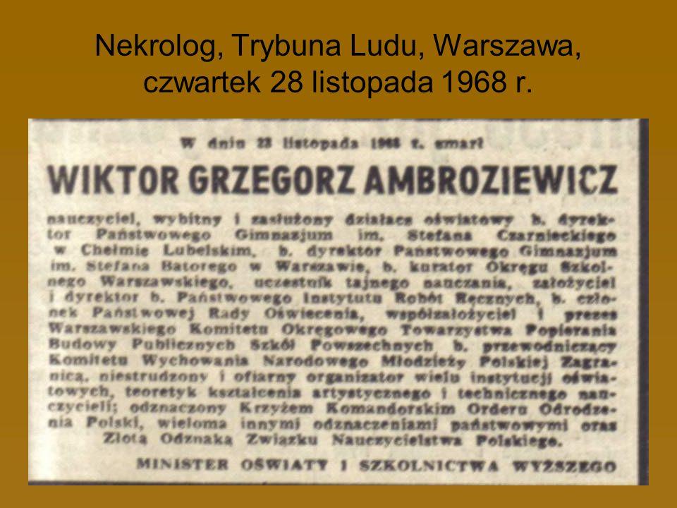 Nekrolog, Trybuna Ludu, Warszawa, czwartek 28 listopada 1968 r.
