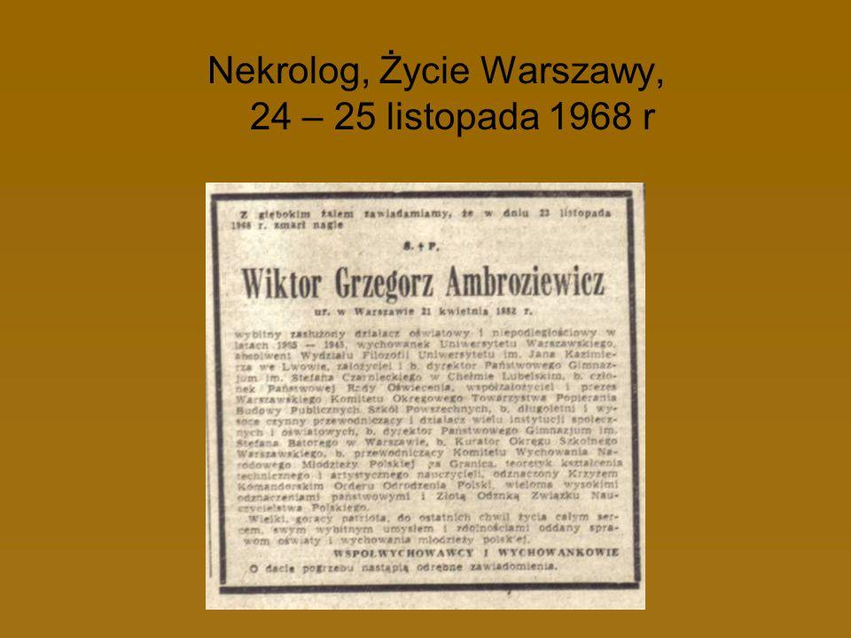 Nekrolog, Życie Warszawy, 24 – 25 listopada 1968 r