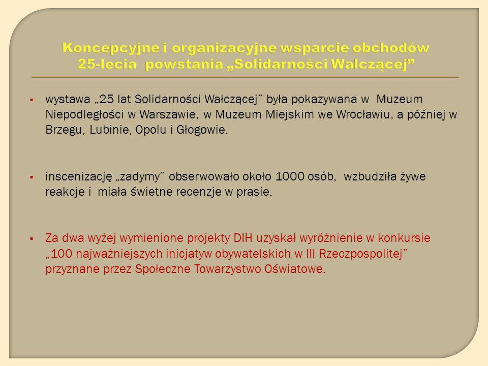 Stowarzyszenie DIH współpracowało przy organizacji międzynarodowej konferencji Wolni i Solidarni- Solidarność Walcząca, ruchy antykomunistyczne w Europie Środkowo- Wschodniej w PKiN w Warszawie oraz debaty na Zamku Książ w Wałbrzychu Spór o Rzeczpospolitą Solidarną, nawiązującej do deklaracji ideowej Solidarności Walczącej.