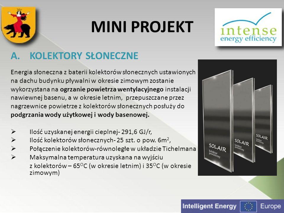 MINI PROJEKT A.KOLEKTORY SŁONECZNE Energia słoneczna z baterii kolektorów słonecznych ustawionych na dachu budynku pływalni w okresie zimowym zostanie