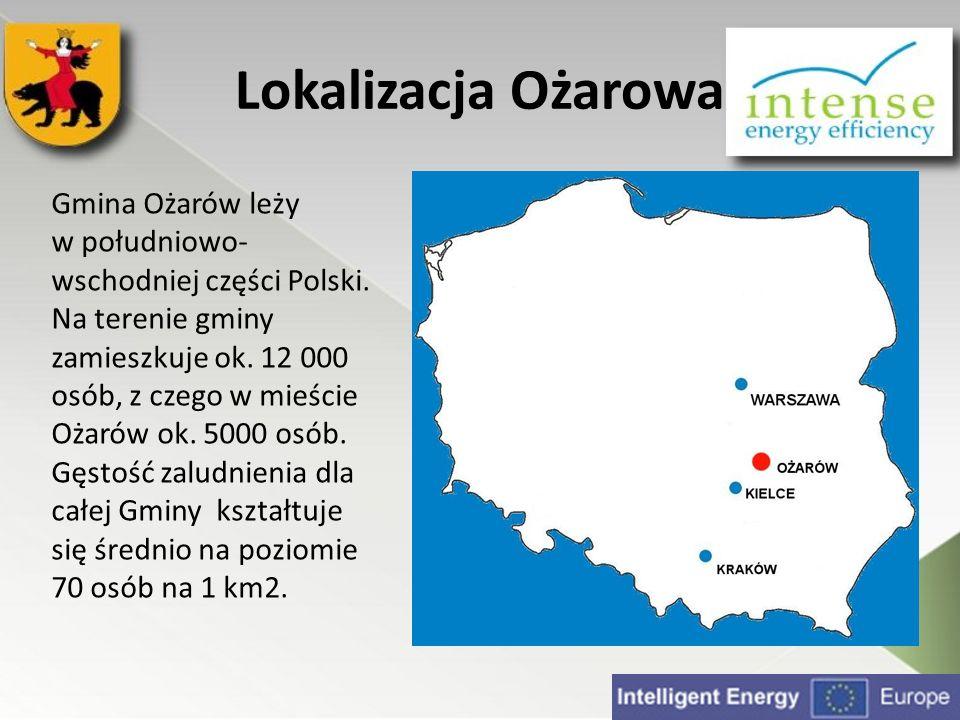 Lokalizacja Ożarowa Gmina Ożarów leży w południowo- wschodniej części Polski. Na terenie gminy zamieszkuje ok. 12 000 osób, z czego w mieście Ożarów o