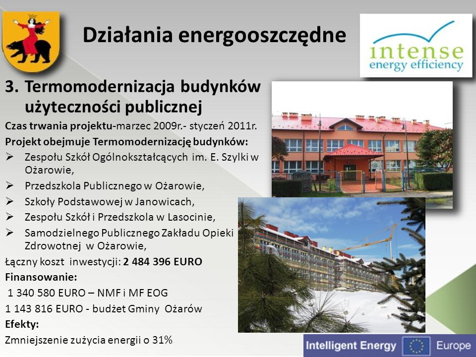 3.Termomodernizacja budynków użyteczności publicznej Czas trwania projektu-marzec 2009r.- styczeń 2011r. Projekt obejmuje Termomodernizację budynków: