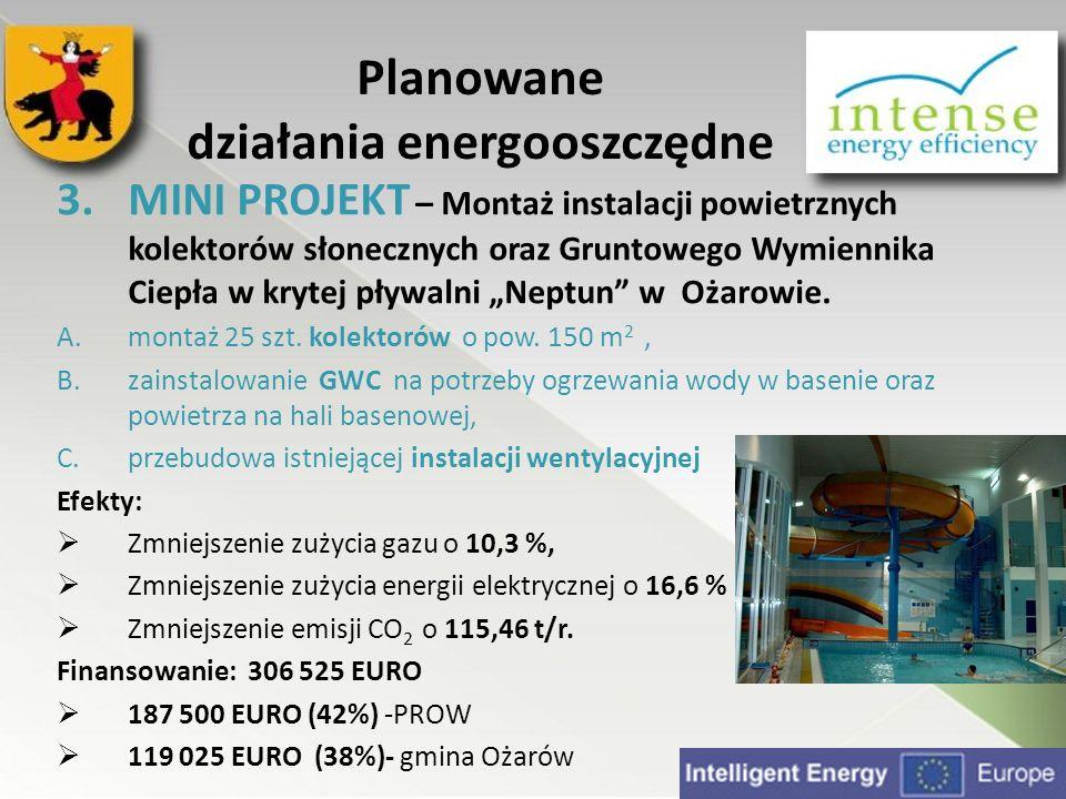 3.MINI PROJEKT – Montaż instalacji powietrznych kolektorów słonecznych oraz Gruntowego Wymiennika Ciepła w krytej pływalni Neptun w Ożarowie. A.montaż