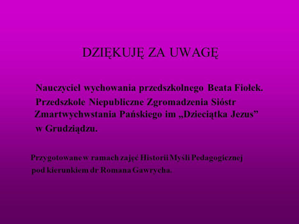 DZIĘKUJĘ ZA UWAGĘ Nauczyciel wychowania przedszkolnego Beata Fiołek. Przedszkole Niepubliczne Zgromadzenia Sióstr Zmartwychwstania Pańskiego im Dzieci