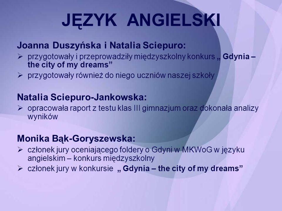 Joanna Duszyńska i Natalia Sciepuro: przygotowały i przeprowadziły międzyszkolny konkurs Gdynia – the city of my dreams przygotowały również do niego